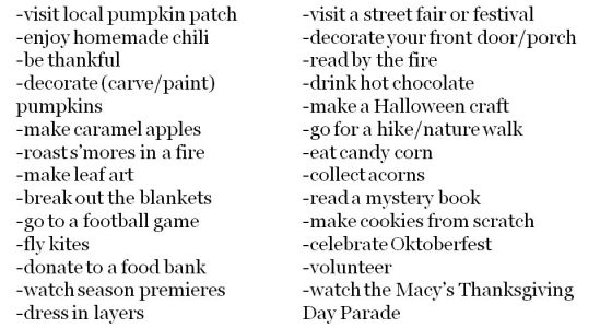Fall Bucket List in Post